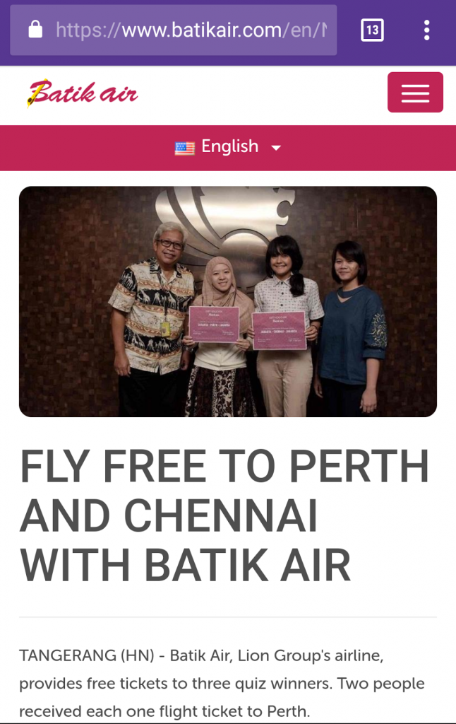 Pemenang batik air goes to Perth